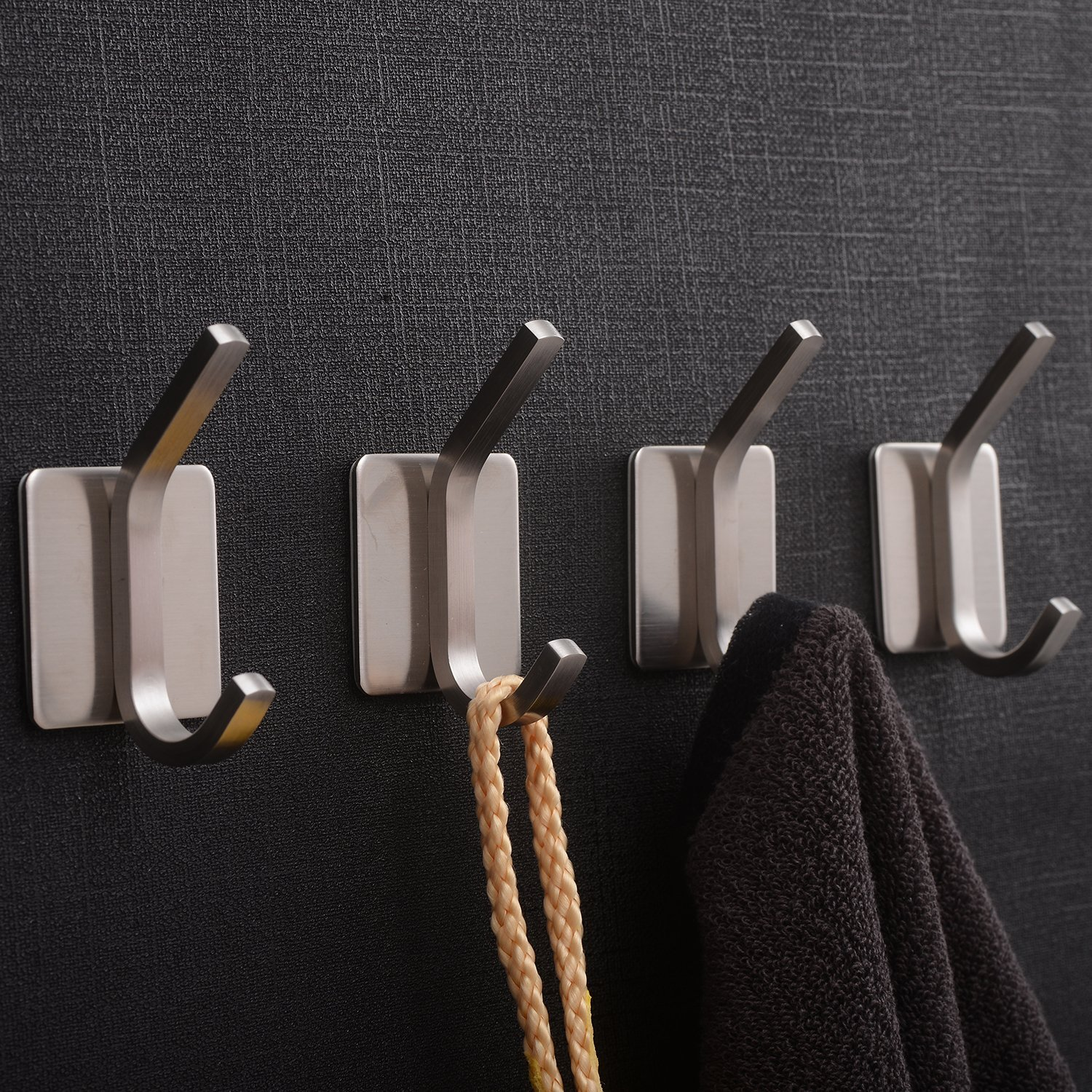 YIGII Coat Robe Hook Rail Bathroom Wall 3M Self Adhesive Brushed SUS304 Stainless Steel Towel Hooks 4 Pack