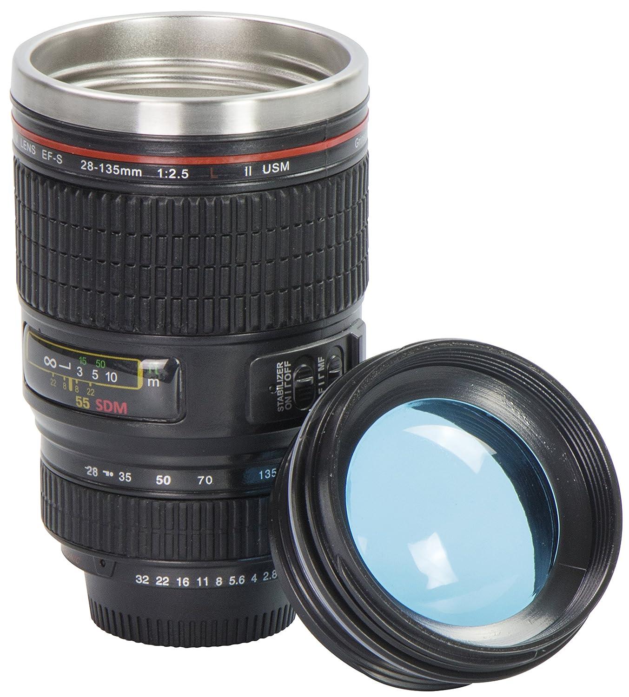 Tazza da caffè coperchio trasparente - Nero 0, 3l Design Macchina Fotografica - Thermos gadget da viaggio - Grinscard
