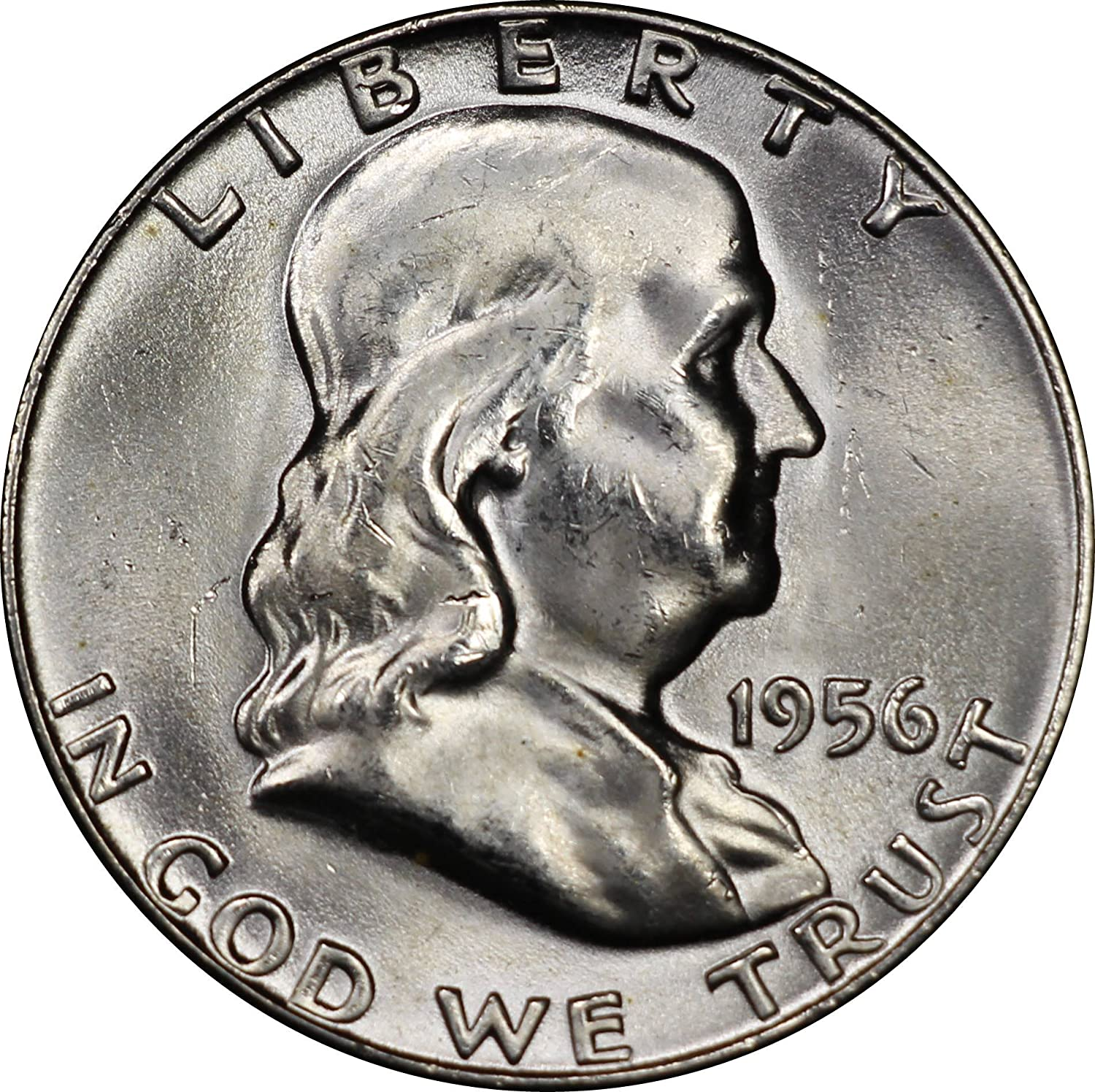 1956 U.S. Franklin Half Dollar Silver Coin, Mint State Condition