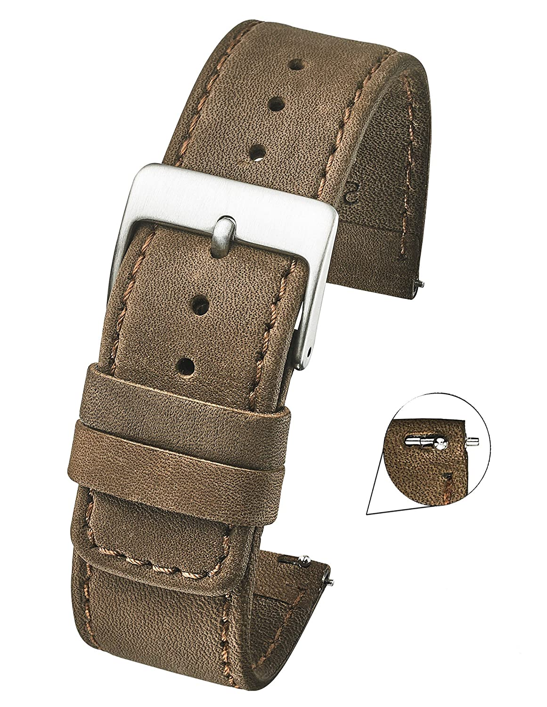 スリムソフトステッチ本革Watch Band withクイックリリーススプリングバー – Full Grainレザー時計ストラップ – ホワイト、ブラック、ブラウン、ベージュ – 18 mm、20 mm、22 mm 20MM ブラウン  ブラウン 20MM B07DN383DT