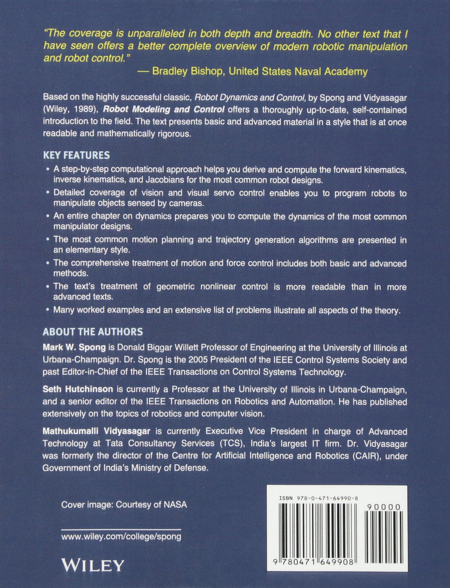 Robot Modeling and Control: Amazon.es: Mark Spong, Seth Hutchinson, Mathukumalli Vidyasagar: Libros en idiomas extranjeros