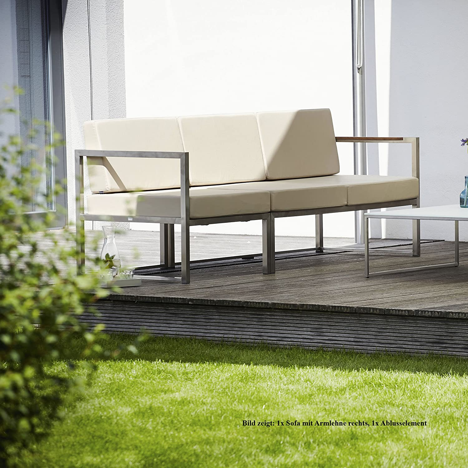 Lux Lounge Sofa 2-Sitzer Armlehne rechts / taupe