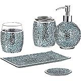 WHOLE HOUSEWARES 5-Pieces Bathroom Accessory Sets Crackle Mosaic Glass Ensemble-Lotion Dispenser/Toothbrush Holder/Tumbler/Va