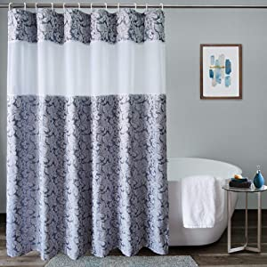 UFRIDAY Damask Decor Fabric Shower Curtain, Easy Care Floral Bathroom Curtain with Light Filtering Mesh Window, Waterproof and Machine Washable, Weighted Bottom Hem, 72x75 Inches, Gray Blue