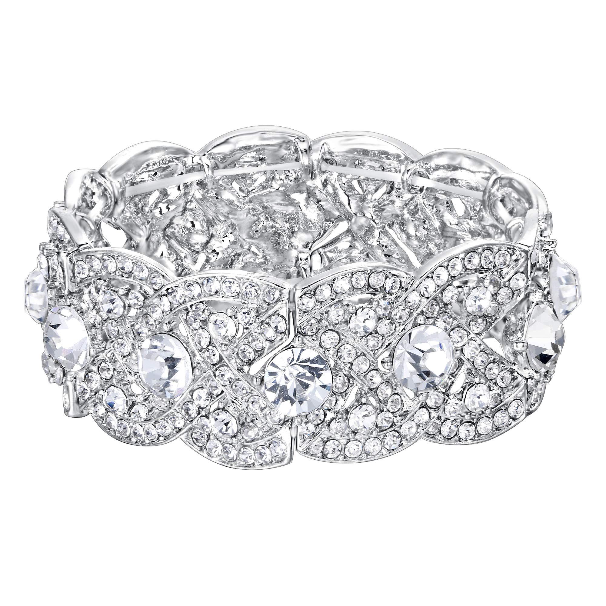 EVER FAITH Austrian Crystal Wedding Art Deco Elastic Stretch Bracelet Clear Silver-Tone by EVER FAITH