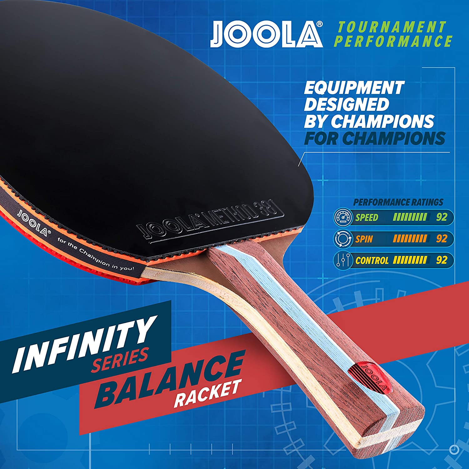 Designed to Optimize Spin and Control JOOLA Infinity Balance Advanced Performance Ping Pong Paddle Competition Ready Table Tennis Racket for High-Level Training