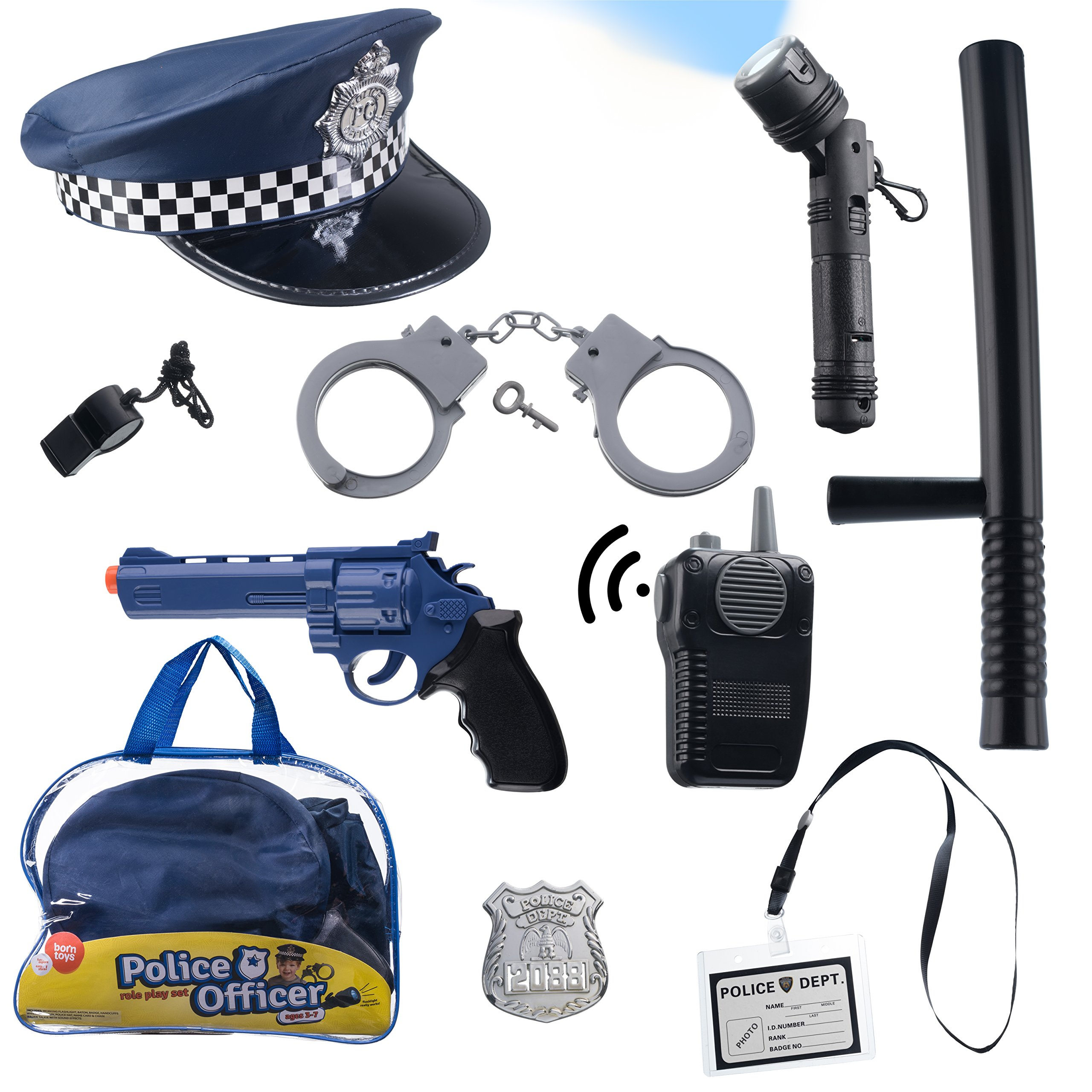 Born Toys (11 PCS) Police Hat and Toys role play set for Swat, Detective,FBI, Halloween and Police Costume Dress up by Born Toys