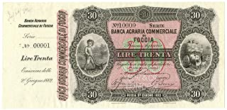 Cartamoneta.com 30 Lire Banca AGRARIA Commerciale FOGGIA Specimen Matrice 02/06/1882 FDS-/FDS
