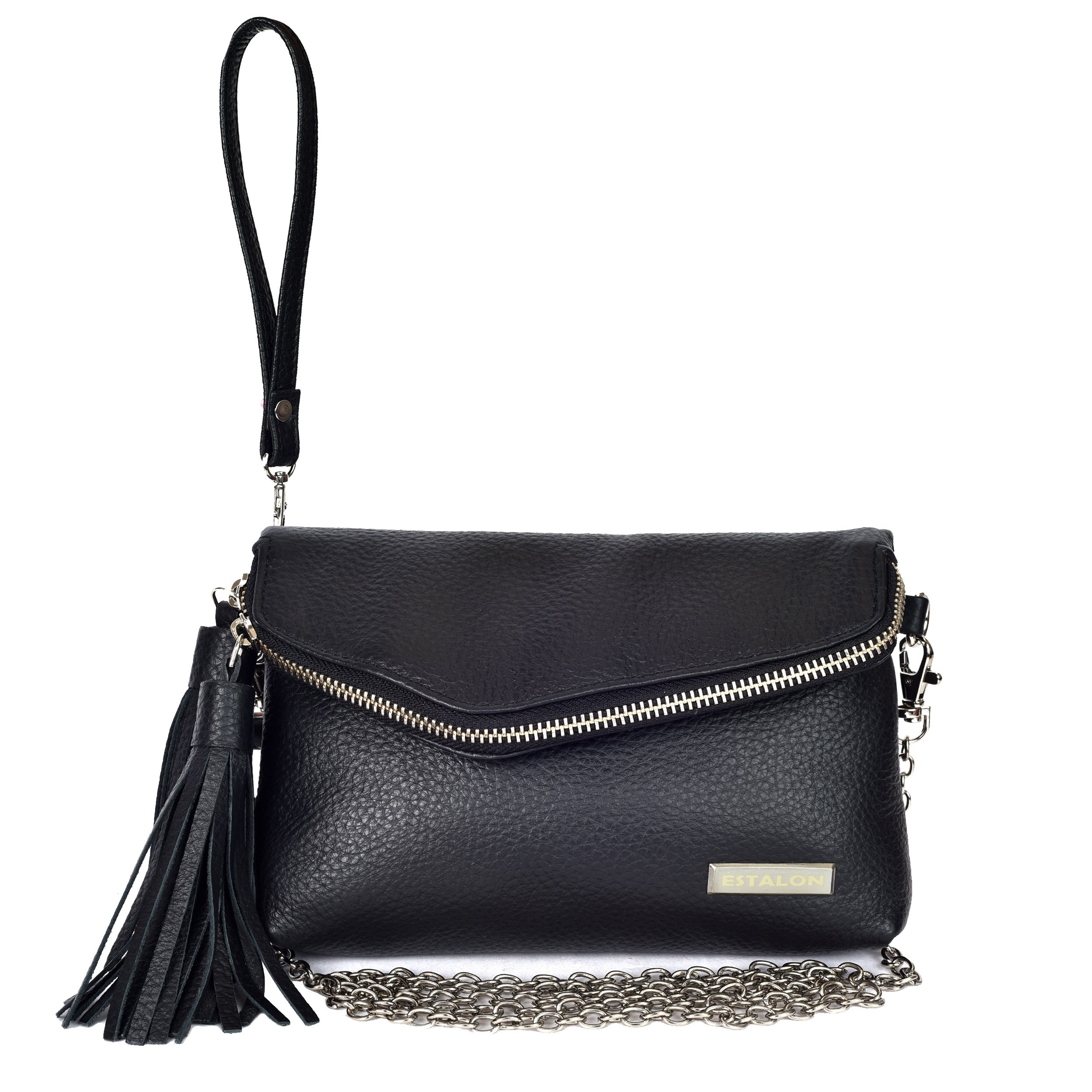 Leather Crossbody Purses and Bags for Women - Womens Crossover Handbags Over the Shoulder Travel Genuine Handmade Purse (Black Pebble)