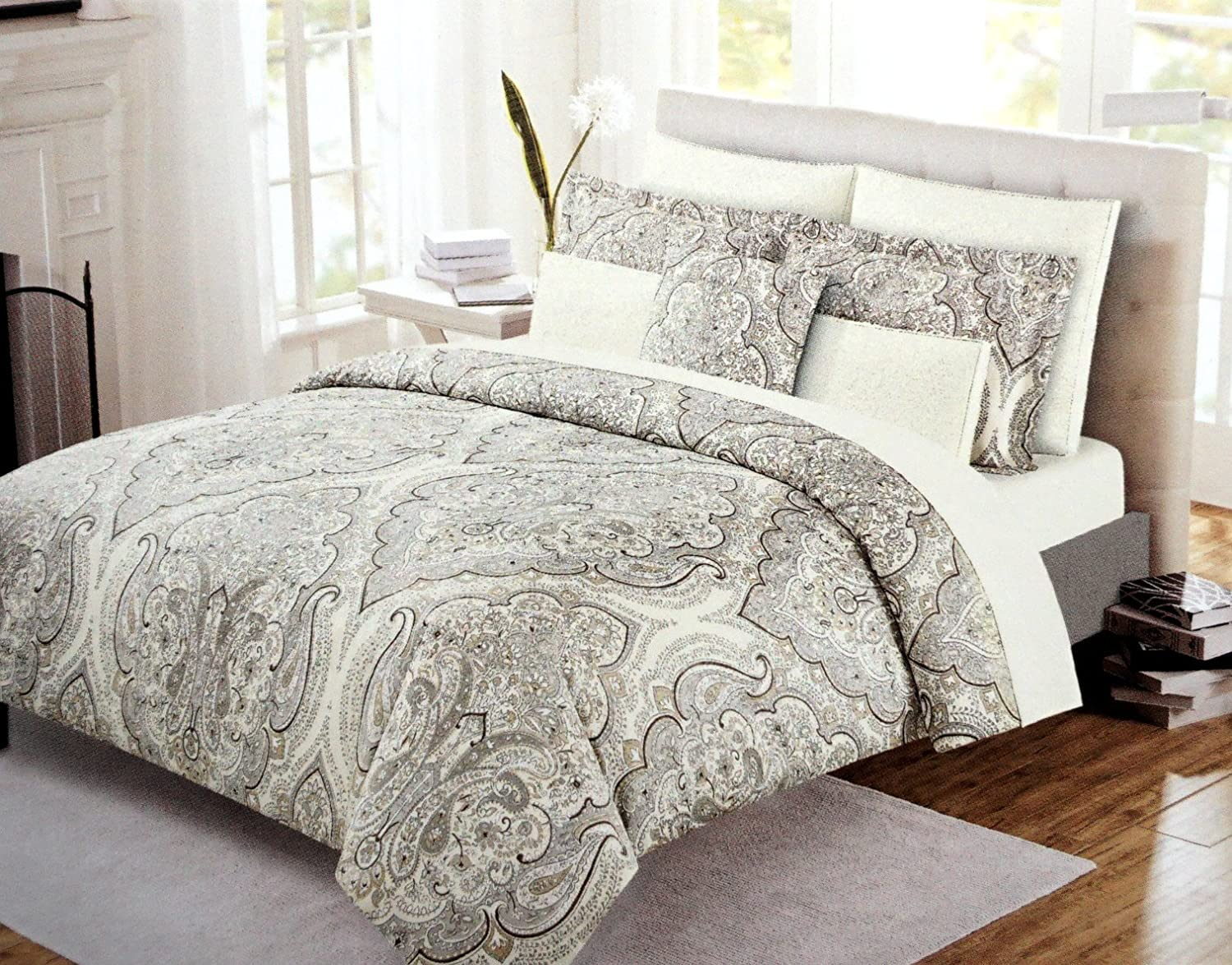 Cynthia Rowley Boho Chic Bedding Taupe Grey Bohemian Paisley Salma Duvet Cover Set 3pc Large Moroccan Damask Medallion Gray Beige Tan Bothe Style