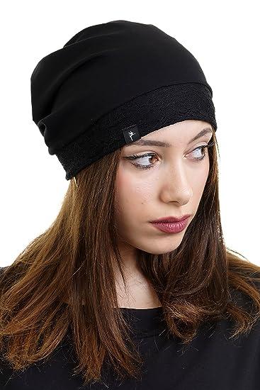 f4618a4bbc03 3Elfen Casquette avec Bordure de Dentelle Bonnet Femme de pour Femme -  Chapeau Cap Jersey -