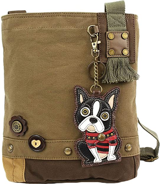 Sand Chala Womens Canvas Patch Crossbody Handbag Boston Terrier