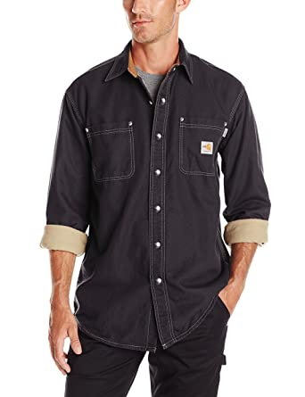 f3220f3f0237 Amazon.com  Carhartt Men s Flame Resistant Canvas Shirt Jacket  Work  Utility Outerwear  Clothing