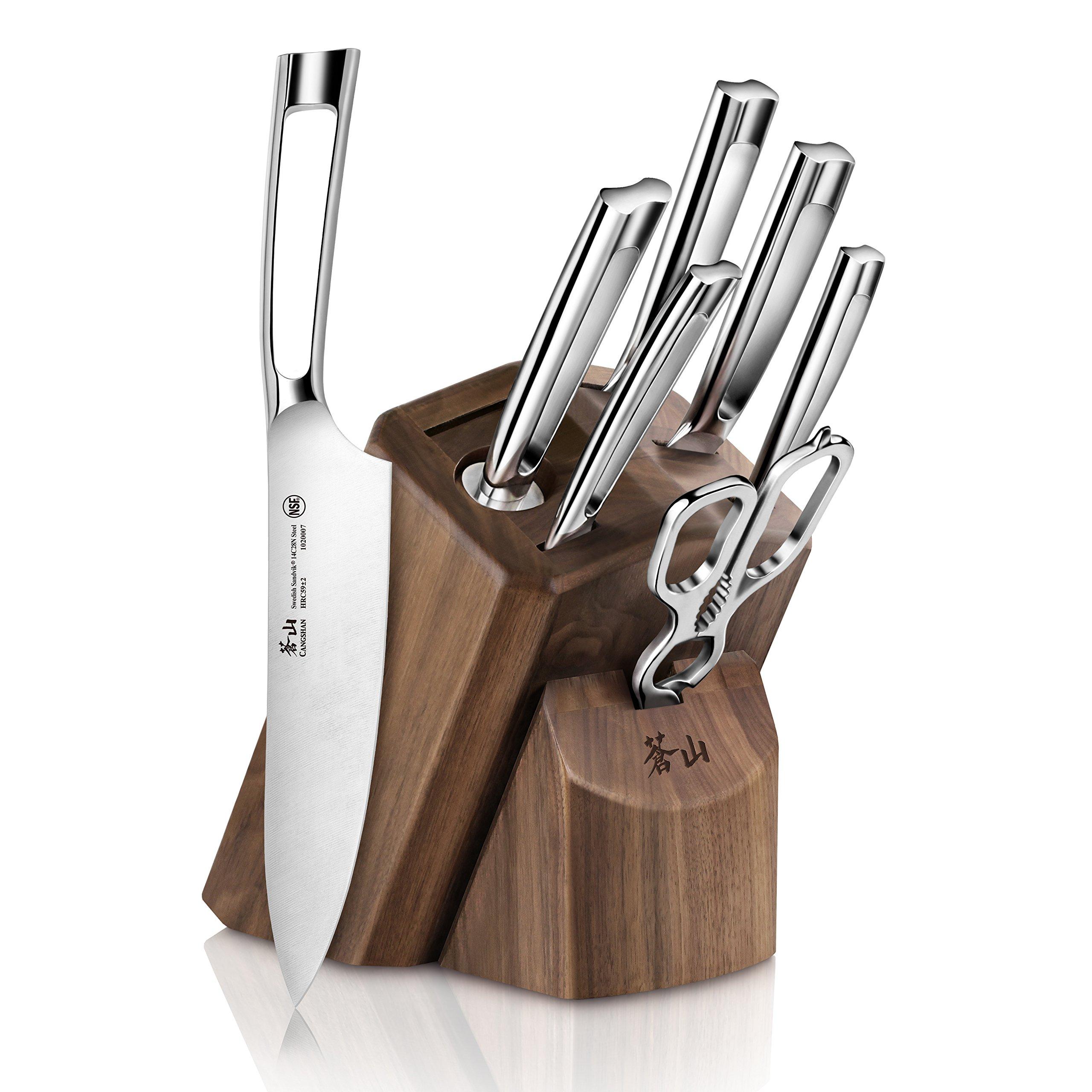 Cangshan TN1 Series 1021950 Swedish Sandvik 14C28N Steel Forged 8-Piece Knife Block Set, Walnut