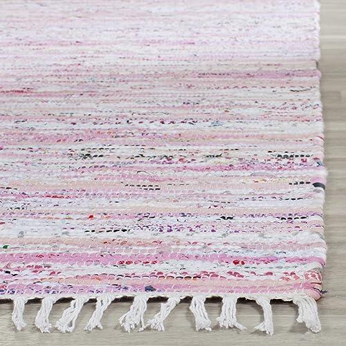 Safavieh Rag Rug Collection RAR125E Hand Woven Light Pink and Multi Cotton Area Rug 3 x 5