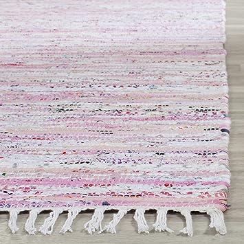 Safavieh Rag Rug Collection RAR125E Hand Woven Light Pink And Multi Cotton  Area Rug (2