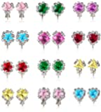 PinkSheep Diamond Earrings for Kids, Baby Birthstone Earrings, 12 Pairs, Clip On Earrings for Girls