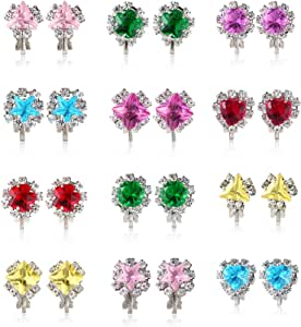 PinkSheep Diamond Earrings for Kids, Baby Birthstone Earrings, 12 Pairs, Clip On Earrings for Girls
