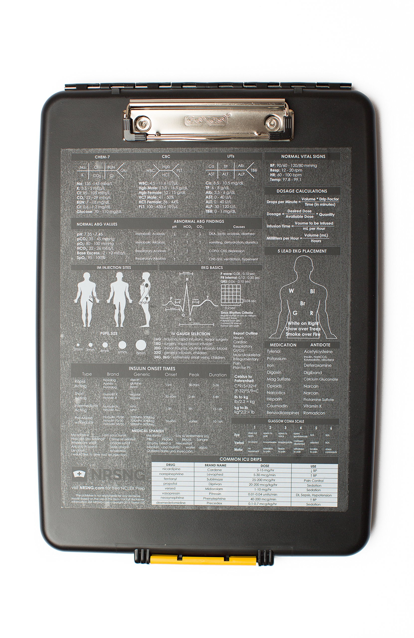 Nursing Clipboard with Storage and Quick Medical Reference Guides Created by NRSNG for Student Nurses and Nurses (Black)
