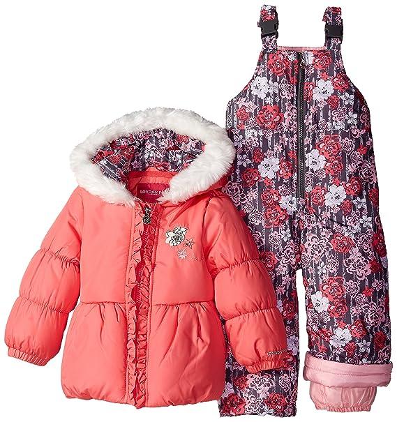 7a541e785 London Fog Little Girls  Snowsuit with Peplum Puffer Coat