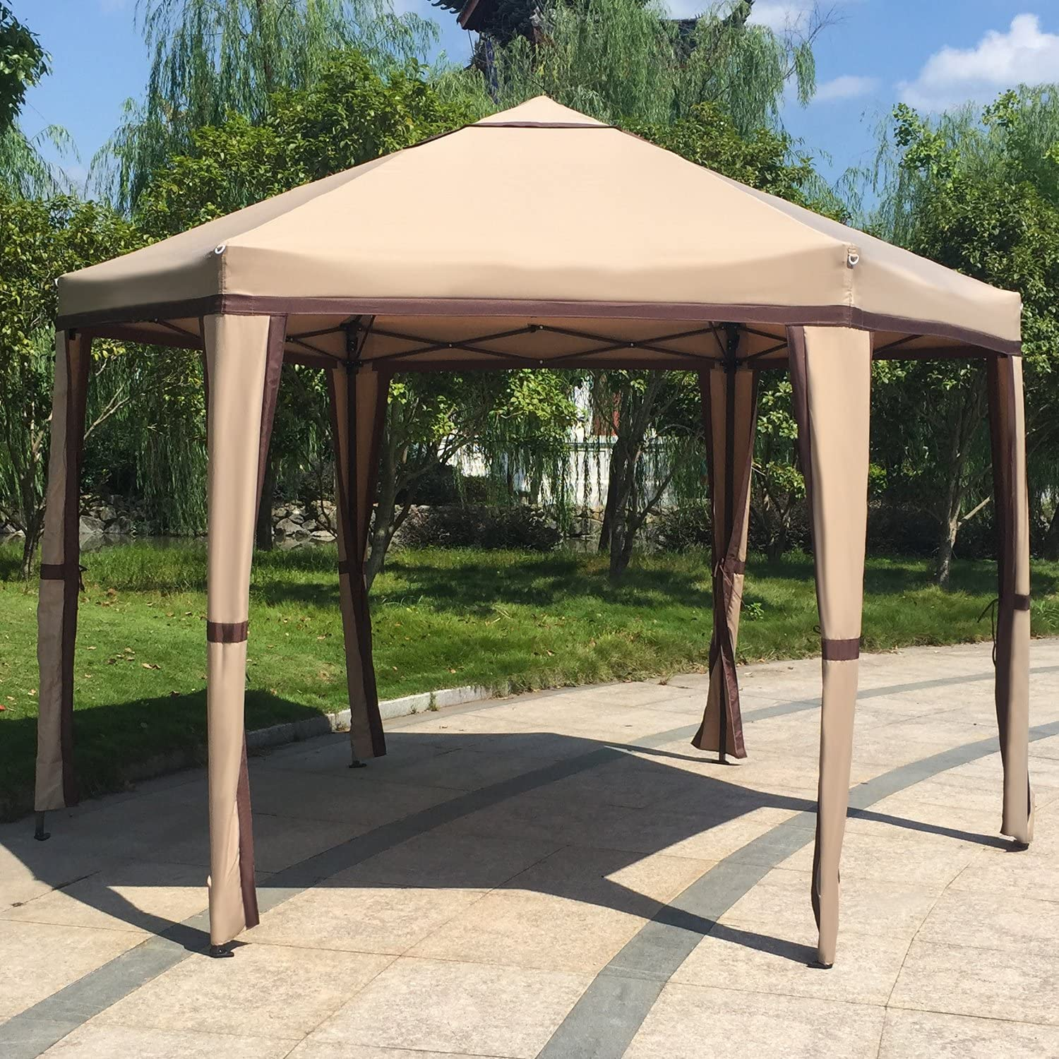 Kinbor 12u0027x 8u0027 Outdoor Patio Iron Gazebo Canopy Garden Backyard Tent  sc 1 st  Amazon.com : cheap garden canopy - memphite.com