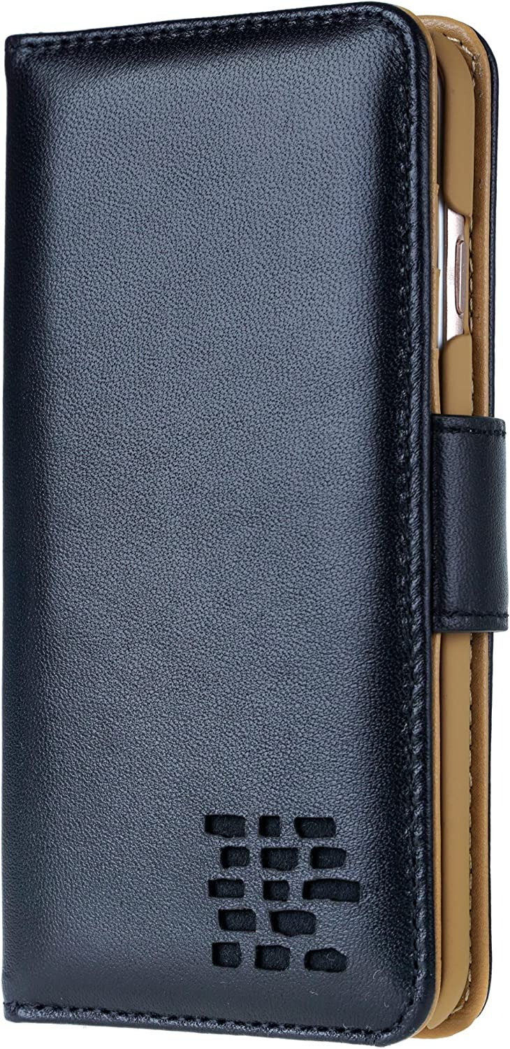 iPhone 6 / iPhone 6S Case – Ed Hicks iPhone 6 Leather Case – Genuine Leather – Luxury Folio Wallet Flip – Card Slots – Bill Pocket – Color Matched Phone Holder. Ultra Soft Black with Tan Lining