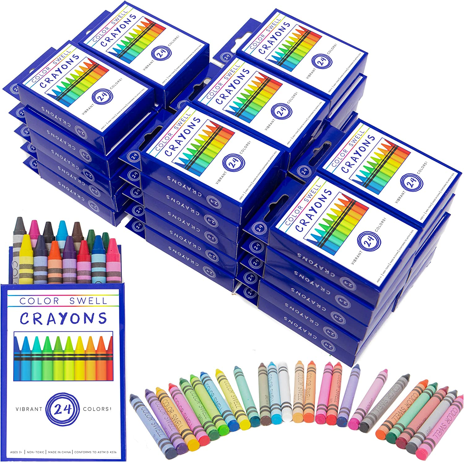 12 Washable Markers, 12 Watercolor Paints, 12 Crayons Color Swell Art Supplies Bulk Pack Perfect for Families Classrooms and Parties