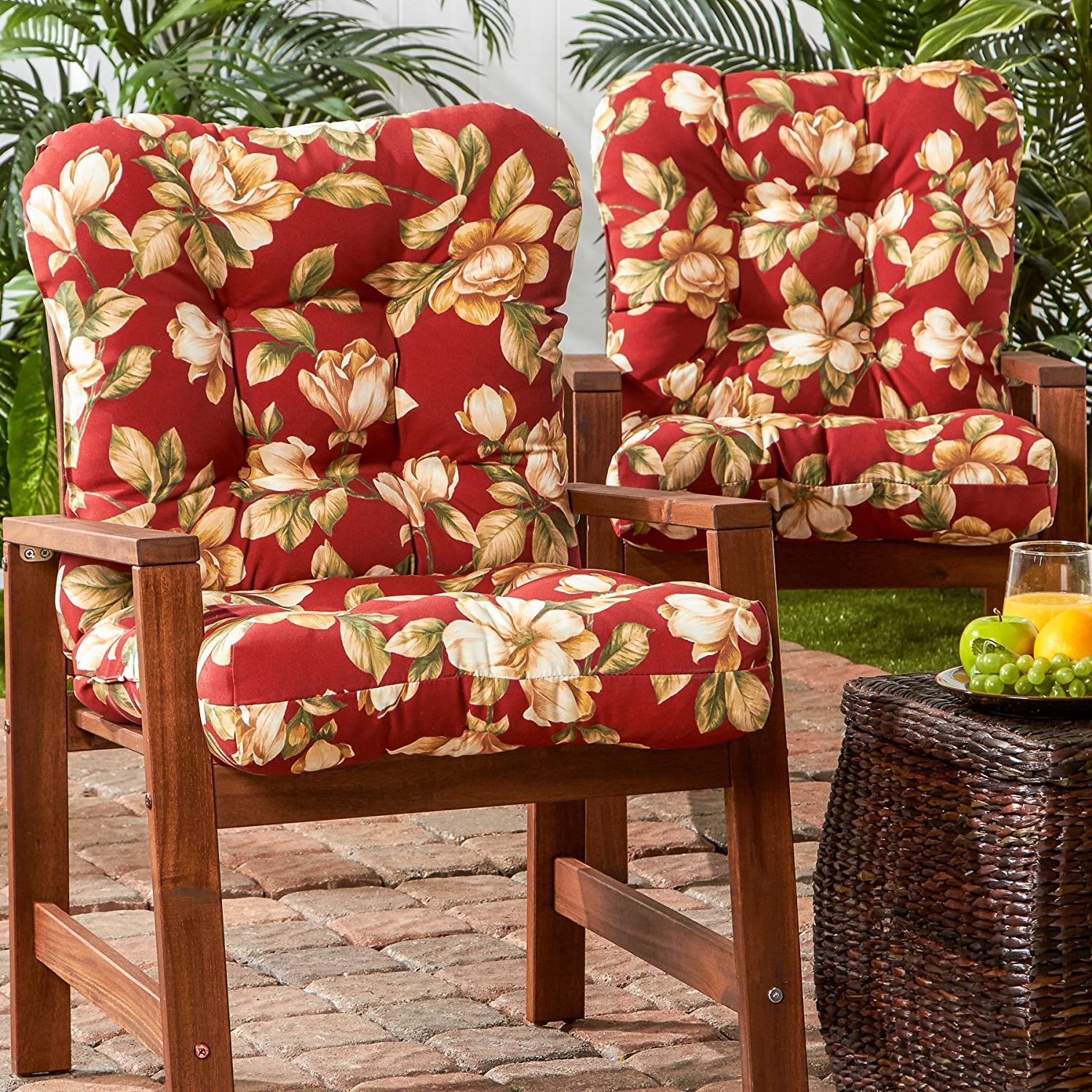 Greendale Home Fashions Outdoor Seat Back Chair Cushion set of 2 , Roma Floral