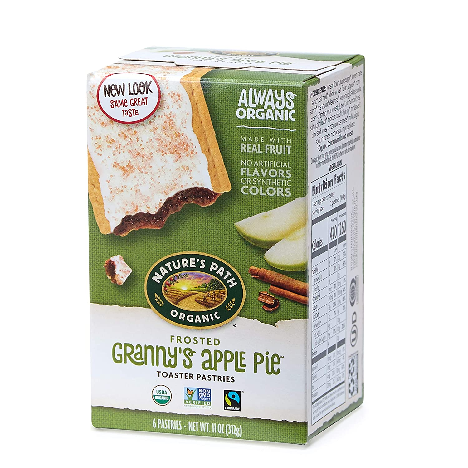 Nature's Path Frosted Granny's Apple Pie Toaster Pastries, Healthy, Organic, 11-Ounce Box (Pack of 12)