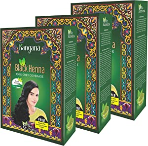 Kangana Black Henna Powder for 100% Grey Coverage - Natural Black Henna Powder for Hair Dye/Color- 6 Pouches Each - Total 180g (6.34 Oz)- Pack of 3