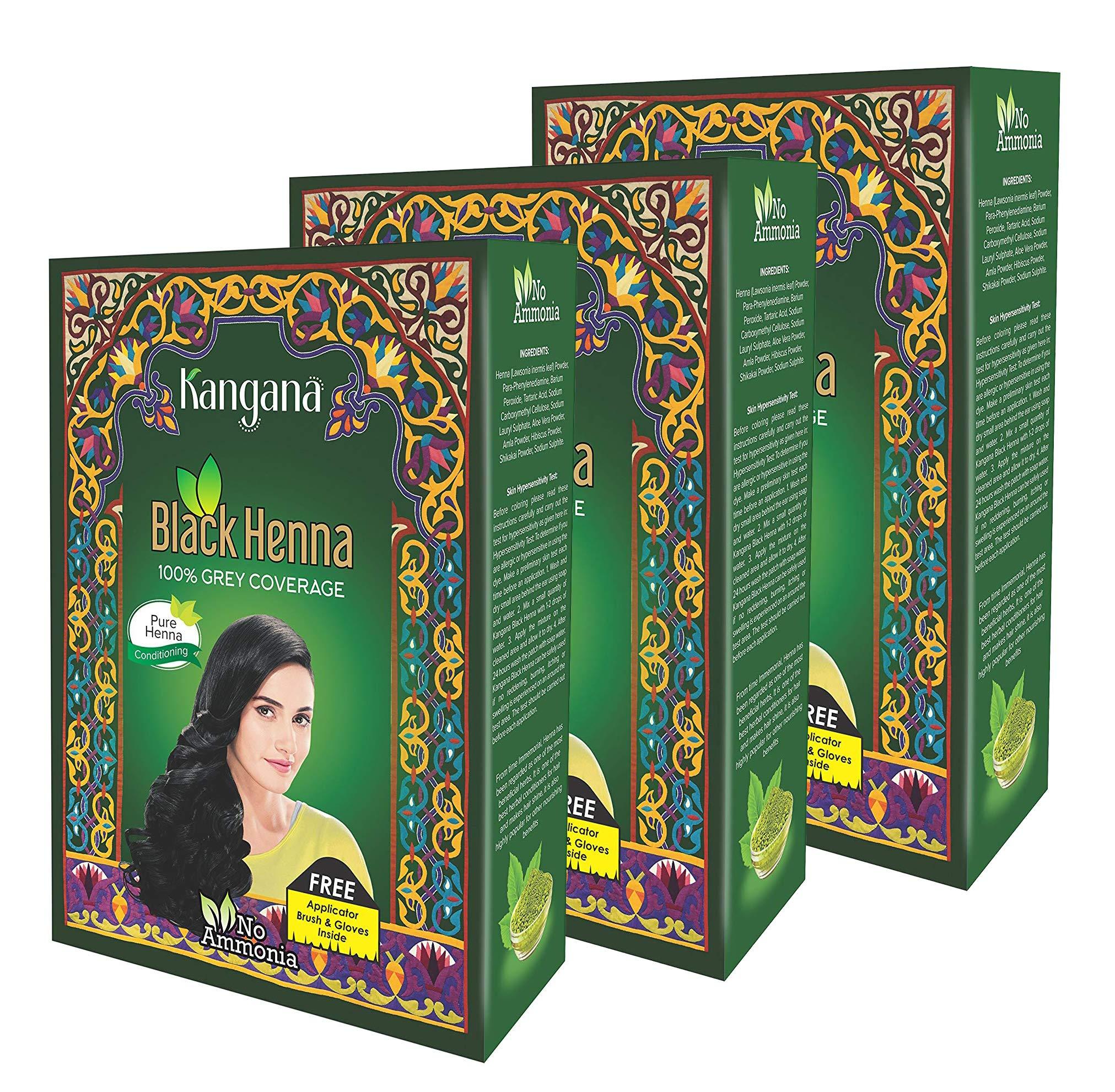 Kangana Black Henna Powder for 100% Grey Coverage - Natural Black Henna Powder for Hair Dye/Color- 6 Pouches Each - Total 180g (6.34 Oz)- Pack of 3 by Kangana