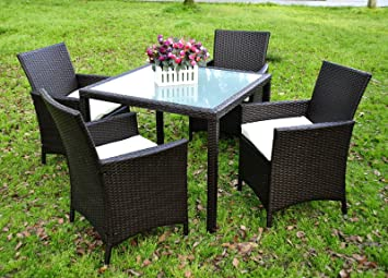 evre la 4 seater garden dining set glass table top durable rattan black
