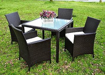evre rattan garden la 4 seater dining set chair table glass patio furniture black