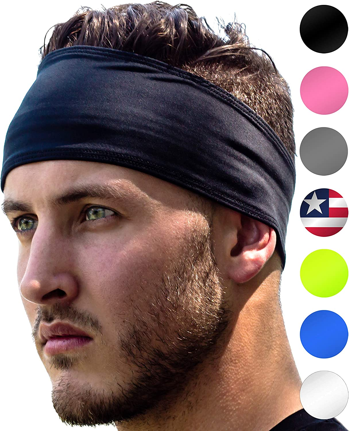 Sports Headbands: UNISEX Design With Inner Grip Strip to Keep Headband Securely in Place | Fits ALL HEAD SIZES | Sweat Wicking Fabric to Keep your Head Dry & Cool. Fits Under Helmets too