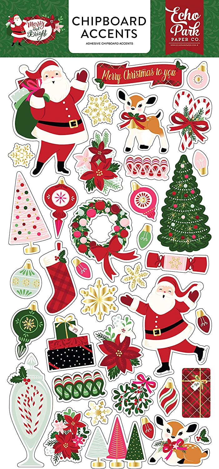 Echo Park Paper Company MB160021 Merry & Bright 6x12 Chipboard Accents, Red, Green, Pink, Black, Gold, Mint