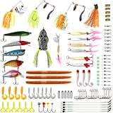 RUNCL Fishing Lures Tackle, Fishing Baits Tackle with Crankbaits Spinnerbaits Fishing Spoons Topwater Frog Rubber Worms Jigs and Tackle Box for Saltwater Freshwater Bass&Bedding Bass Trout Salmon
