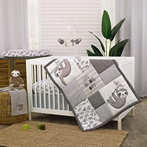Little Love by NoJo Sloth Let's Hang Out Grey, White and Charcoal 3 Piece Nursery Crib Bedding Set - Comforter, Crib Sheet, Dust Ruffle