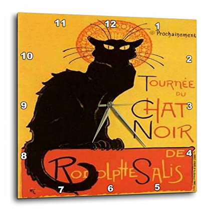 Vintage French black cat chat noir design wall clock Direct print on wood. 10 inch solid maple wall clock