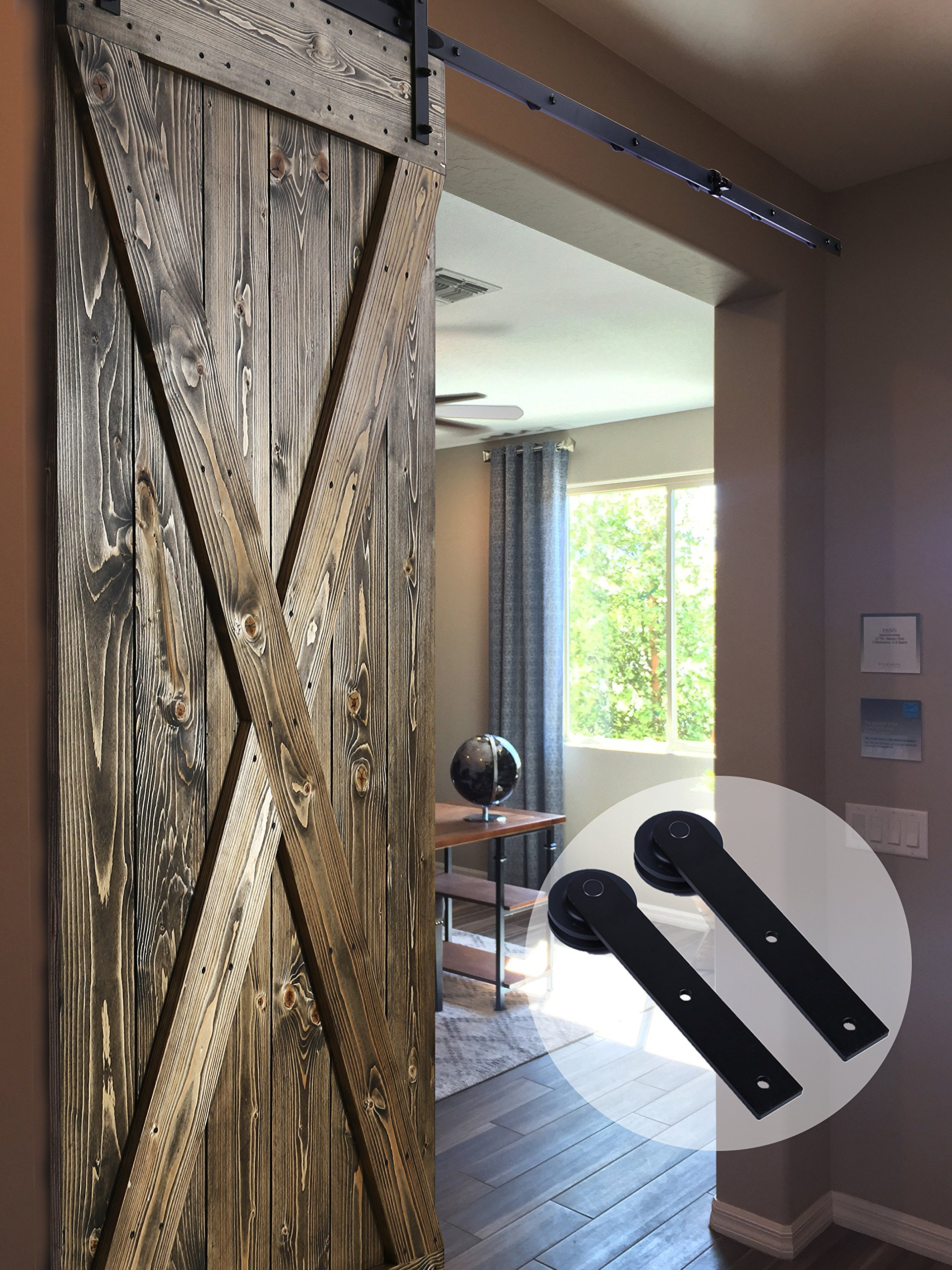CCJH Country Classic Steel Interior Single Sliding Barn Door Hardware Kit 7 Ft Black by CCJH (Image #2)