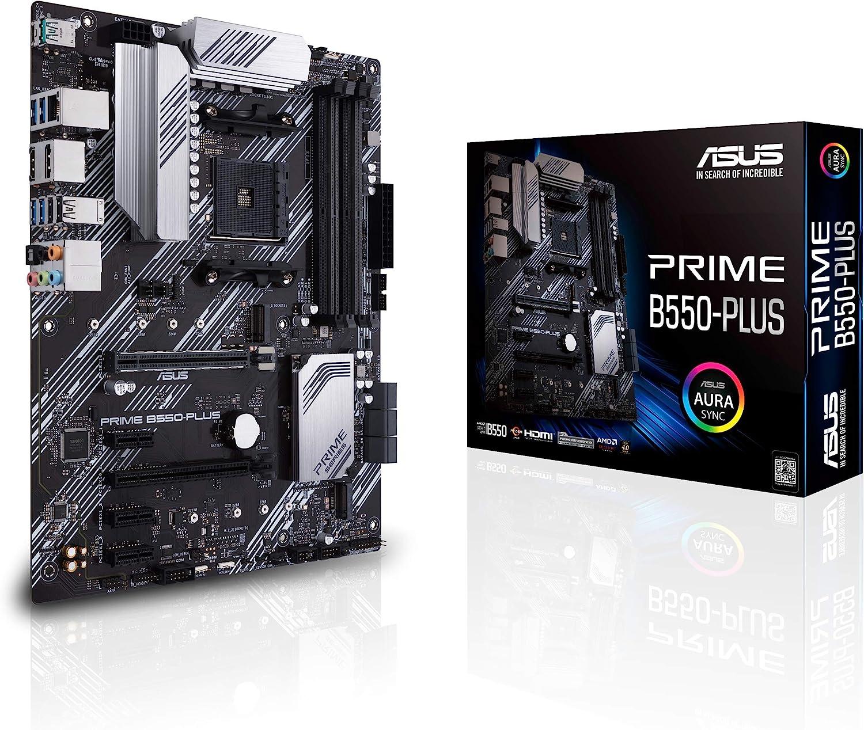 ASUS Prime B550-PLUS AMD AM4 (3rd Gen Ryzen ATX Motherboard (PCIe 4.0, ECC Memory, 1Gb LAN, HDMI 2.1, DisPlayPort 1.2 (4K@60HZ), Addressable Gen 2 RGB Header and Aura Sync)