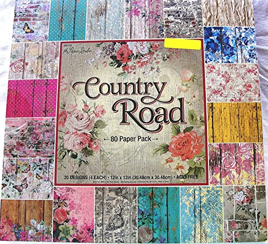 Country Road 12x12, the Paper Studio, Barnwood, Shabby, Vintage, Floral, Damask, Scrapbook, Cardmaking Paper Pack 80 Sheets by Paper Studio: Amazon.es: Hogar