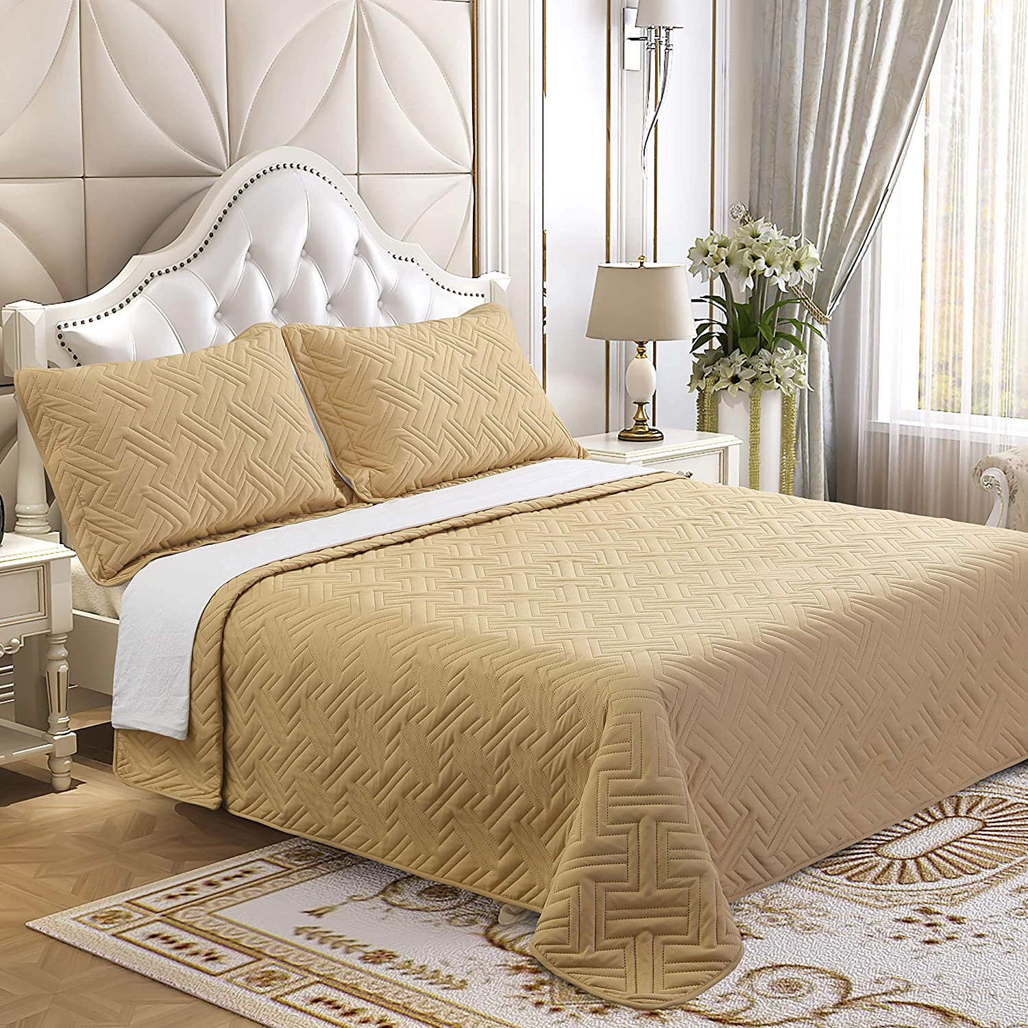 Lorient Home Brushed Microfiber Embossed 2 Piece Twin Lightweight Quilt Set for Coverlet or Blanket Taupe Bedding, Multi
