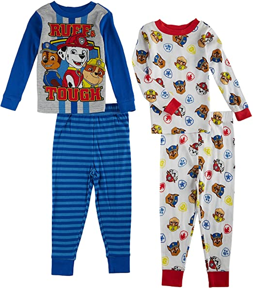 Nickelodeon Boys Paw Patrol Rough and Tough 4 Piece Cotton Set, Multicolor, 2T
