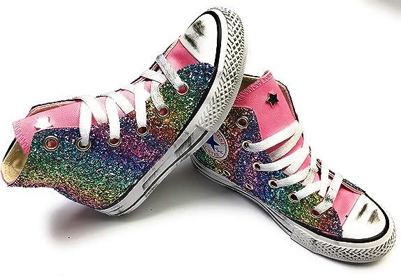 Converse all Star Glitter Arcobaleno Base Rosa