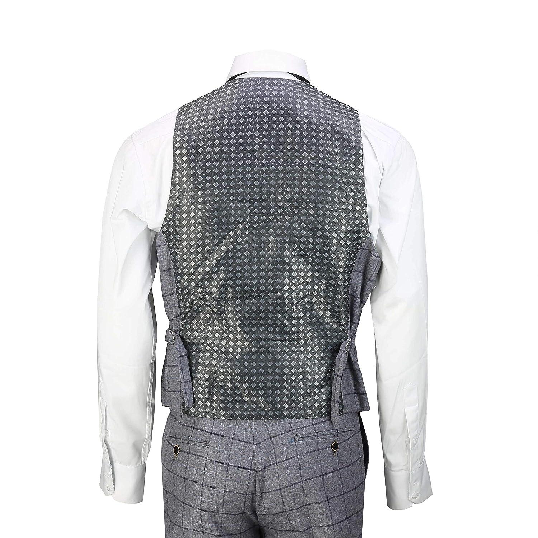 Mens 3 Piece Grey Check Suit Retro Vintage Smart Tailored Fit Classic Formal