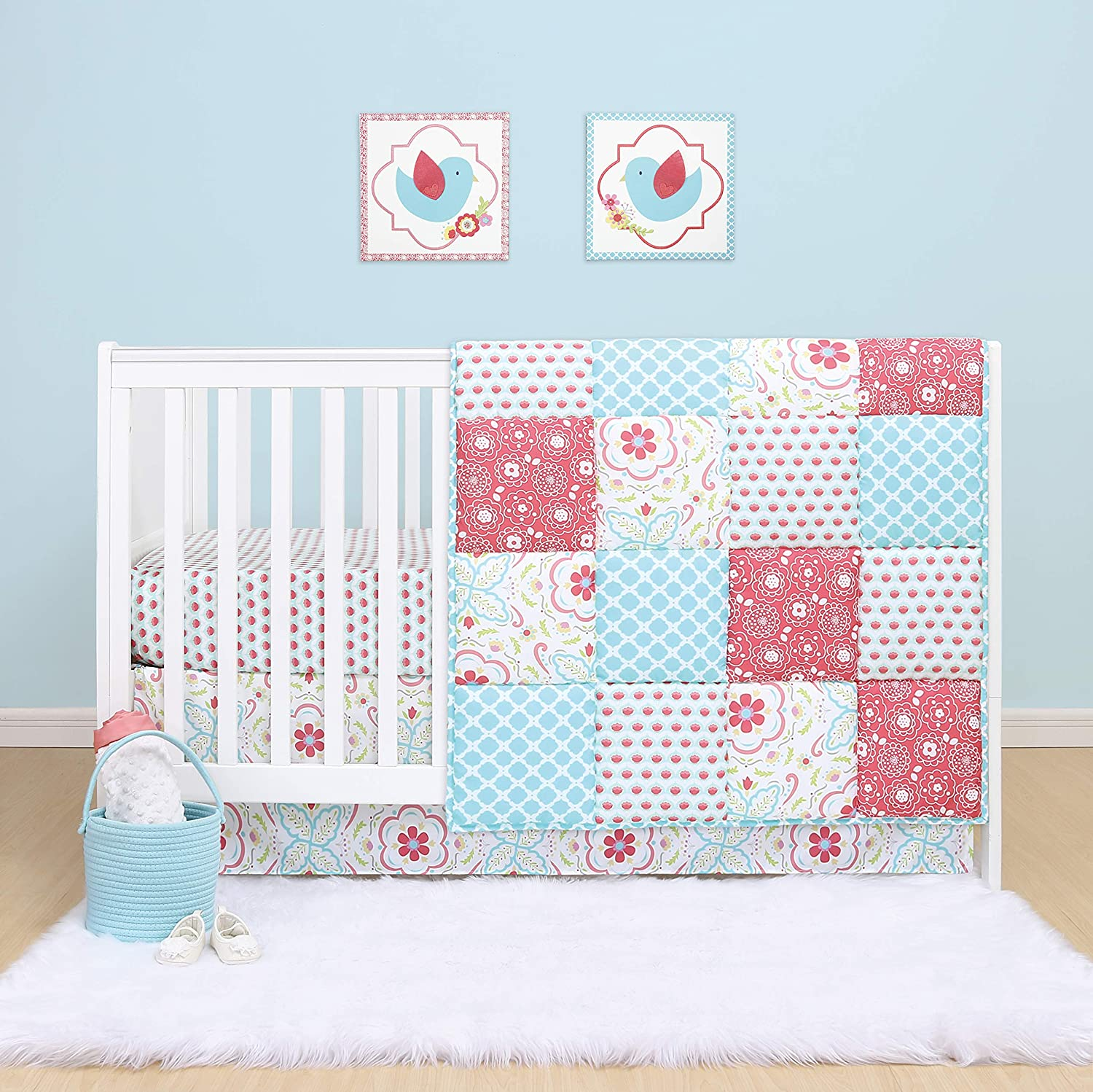 The Peanutshell Mila Crib Bedding Set for Baby Girls | 3 Piece Nursery Set | Baby Quilt, Crib Sheet, and Dust Ruffle