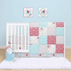 The Peanutshell Mila Crib Bedding Set for Baby Girls | 3 Piece Nursery Set | Baby Quilt, Crib Sheet, and Dust Ruffle