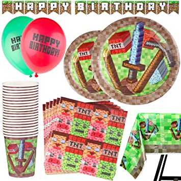 92 Piezas – Vajilla de Pixeles Desechable – Accesorio para Celebración de Fiesta de Cumpleaños - – Decoración de Pixel - Pancarta, Platos, Vasos, ...