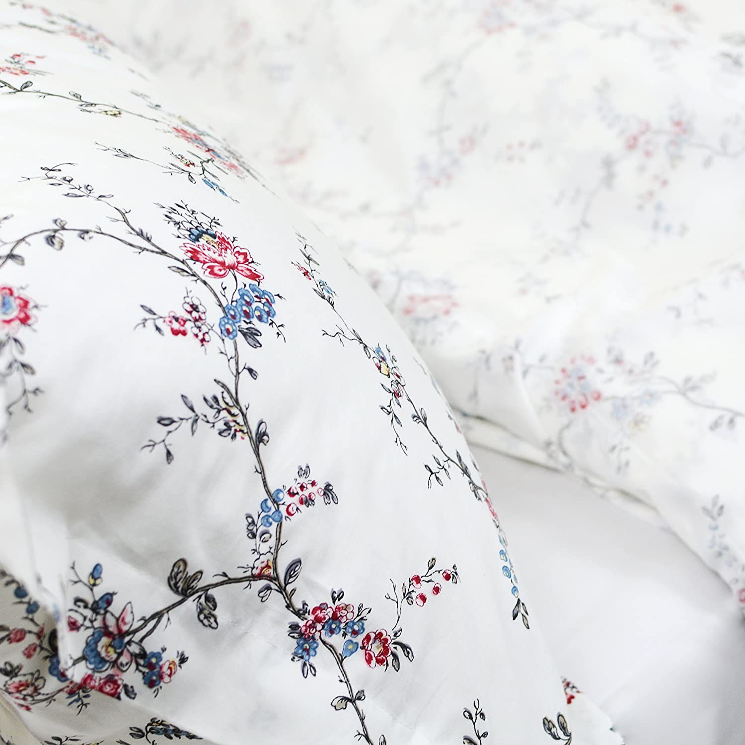 FADFAY Fashionable Rose and Hydrangea Floral 100/% Cotton Soft Duvet Cover Set Reversible with Hidden Zipper Closure,Twin XL Size 3-Pieces