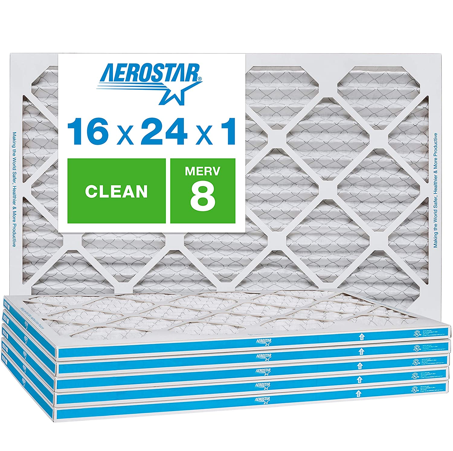 Aerostar Clean House 16x24x1 MERV 8 Pleated Air Filter, Made in the USA, 6-Pack